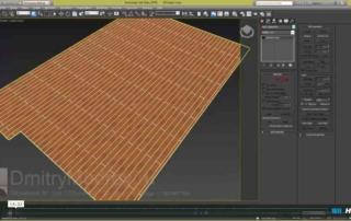 Назначаем на пол материал дерева и редактируем положение текстуры на полу