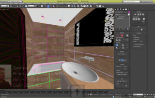 Наложение текстуры на плитку стен ванной в 3ds max