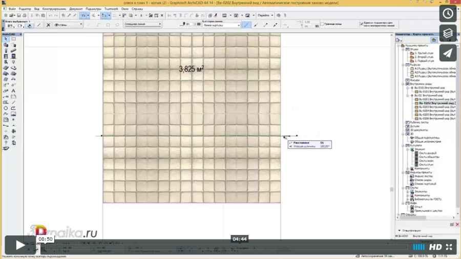 Как сделать раскладку плитки в Archicad с помощью штриховок