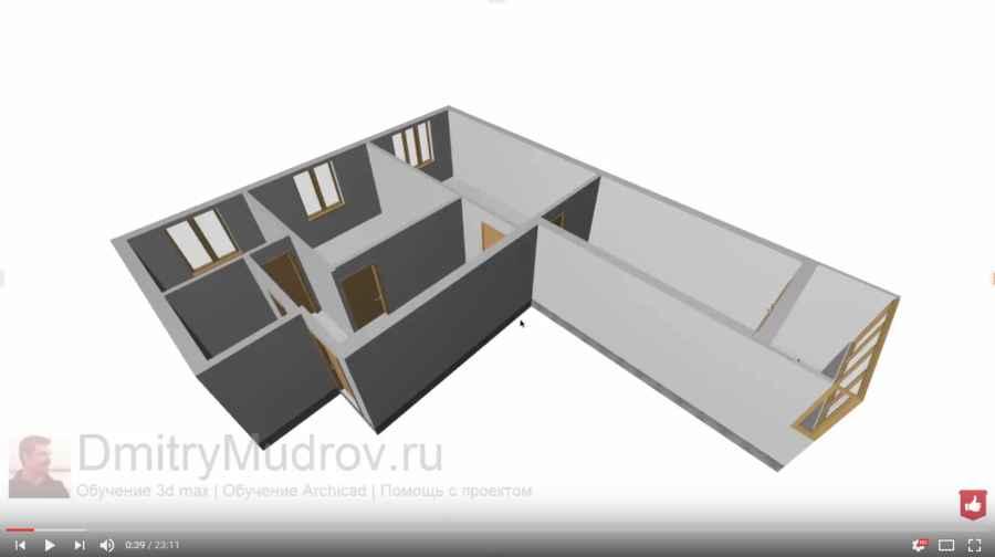 1 Создание внешних стен квартиры в 3d max - ч.1