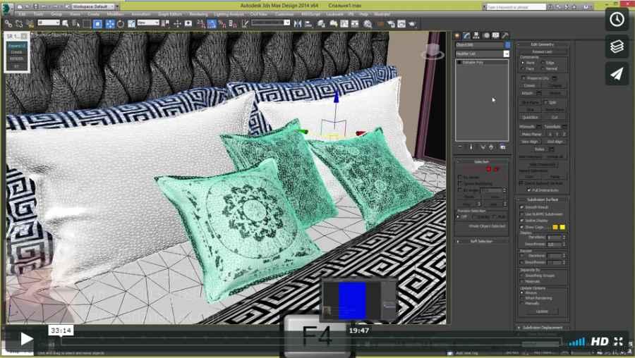 4 Размещаем модель кровати. Облегчаем, настраиваем материалы.