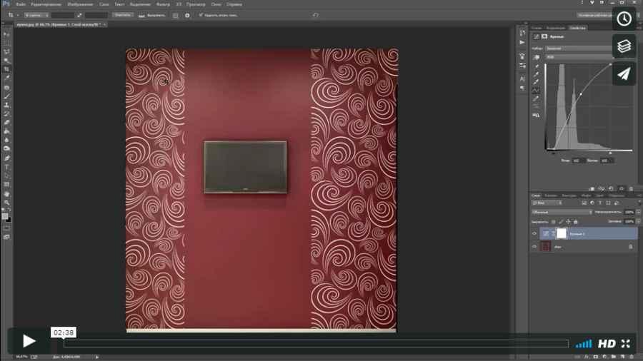 3 Редактируем изображение стены в Photoshop