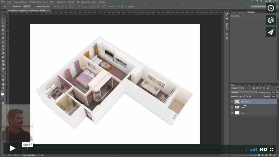 8 Обрабатываем рендер квартиры в Photoshop